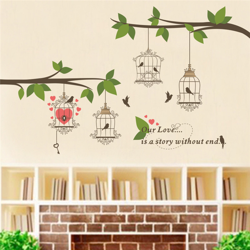 % Large Birds Birdcage Tree Branch Flower Floral Wall Sticker Decals Home Decor TV background Living Room Bedroom Mural poster