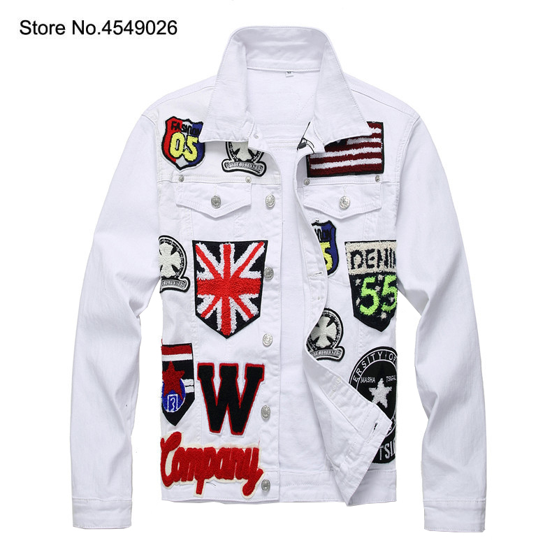 2019 hommes drapeau anglais crâne brodé blanc Jean veste à la mode lettres Badge manches longues Stretch manteau Patchwork survêtement