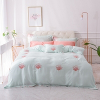 Summer Tencel Coral Embroidery Duvet Cover Set green Bed Sheet Pillow Case Queen king Size Bedding Sets For Soft Bed Linen 4/7pc