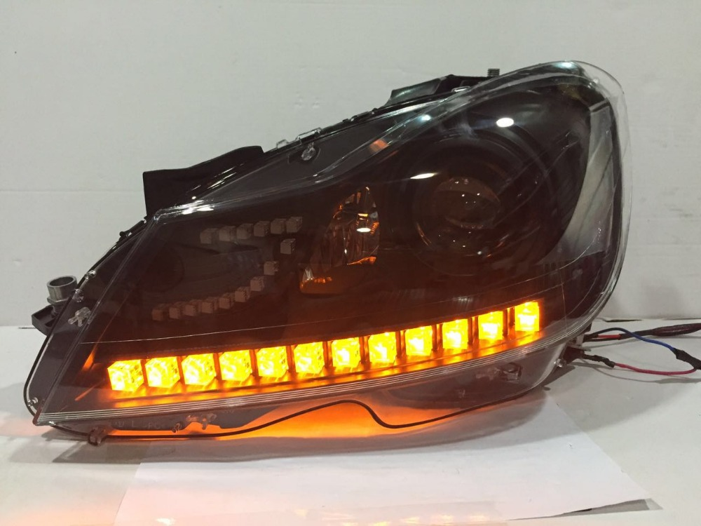 Free shipping vland factory for W204 C180 C200 C260 LED running light headlight with projector lens HID(xenon lamp)Year2013 2016 free shipping for vland factory for car head lamp for audi for a3 led headlight 2008 2009 2010 2011 2012 year h7 xenon lens