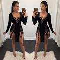 2017 Spring summer side splits hollow out lace up women dresses sexy black red celebrity party dress elegent bodycon dresses