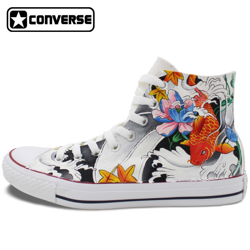 купить  High Top Converse Chuck Taylor Men Women Shoes Carp Tattoo Original Design Hand Painted Canvas Sneakers Man Woman Creative GIfts  онлайн