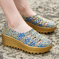2017 Women Lazy Shoes Female Flats Hand Woven knit Shoes Super Lightweight Outdoor Shoes Big Size 35-40