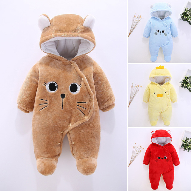81835e3b8 Baby Rompers Newborn Hooded Cartoon Animal Down Snowsuit 2018 Winter ...