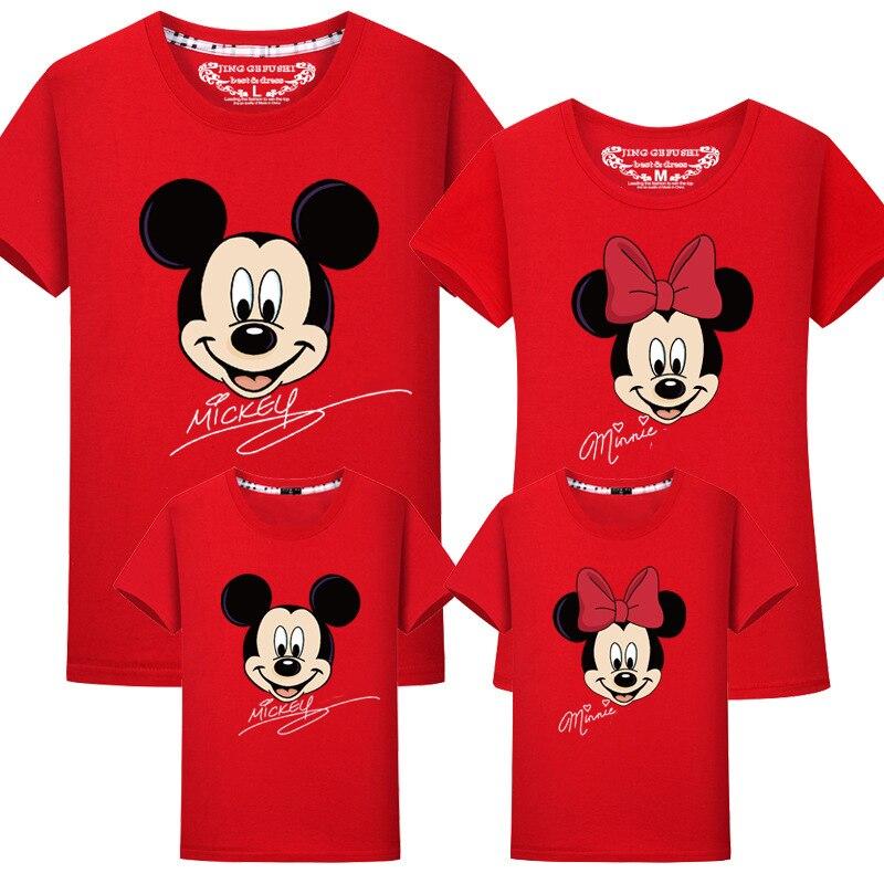 Sonderabschnitt Jargazol Familie Passenden Kleidung Cartoon Mickey Minnie Gedruckt T-shirts Mutter Und Tochter Tops Papa Sohn Mom Familie Aussehen Kinder