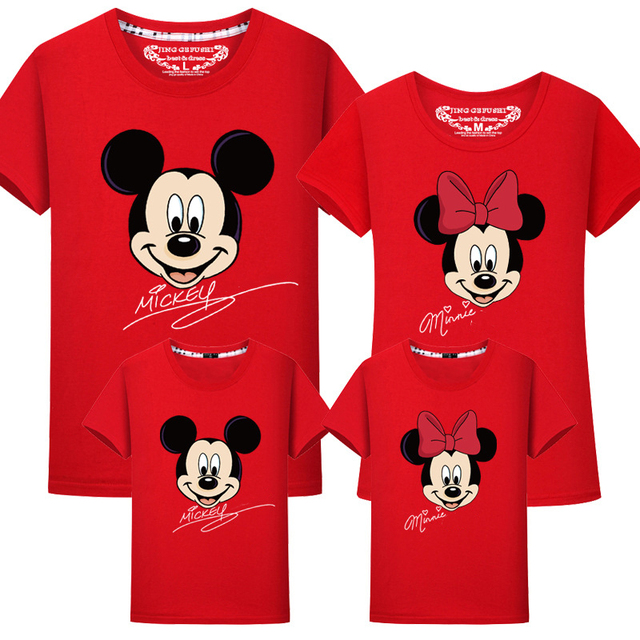 98fba2fa4 Jargazol Family Matching Clothes Cartoon Mickey Minnie Printed T-shirts  Mother and Daughter Tops Dad