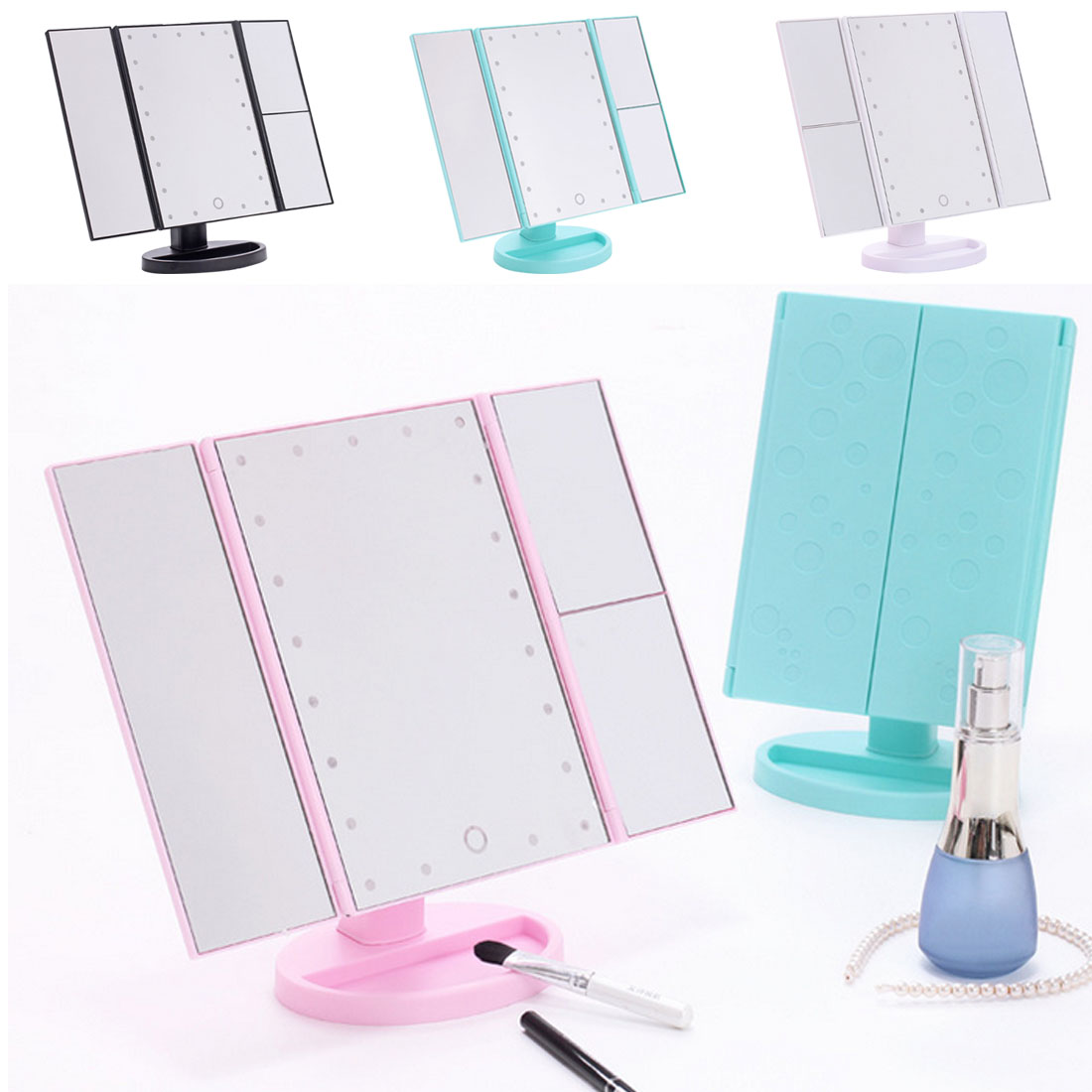 Desktop Touch Lighting Up Touch Screen Magnifiying 3 Folding Adjustable Beauty Mirror Makeup with LED Light Mirror.