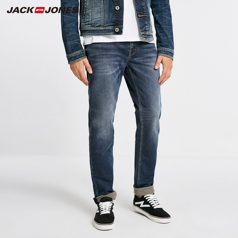 JackJones Men's Autumn & Winter Brushed Slim Fit Straight   Jeans   J|218432514