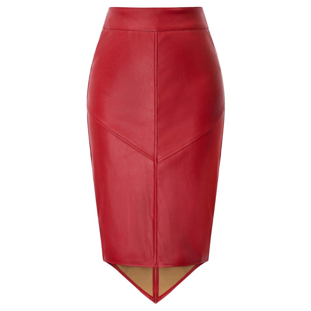 GK Women's Skirts Faux Leather Pencil Skirt Irregular Hem Back Split Hips-wrapped Business Office Party Work Solid Slim Skirt