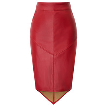 купить GK Women's skirts Faux Leather Pencil Skirt Irregular Hem Back Split Hips-wrapped business office party work solid slim skirt дешево