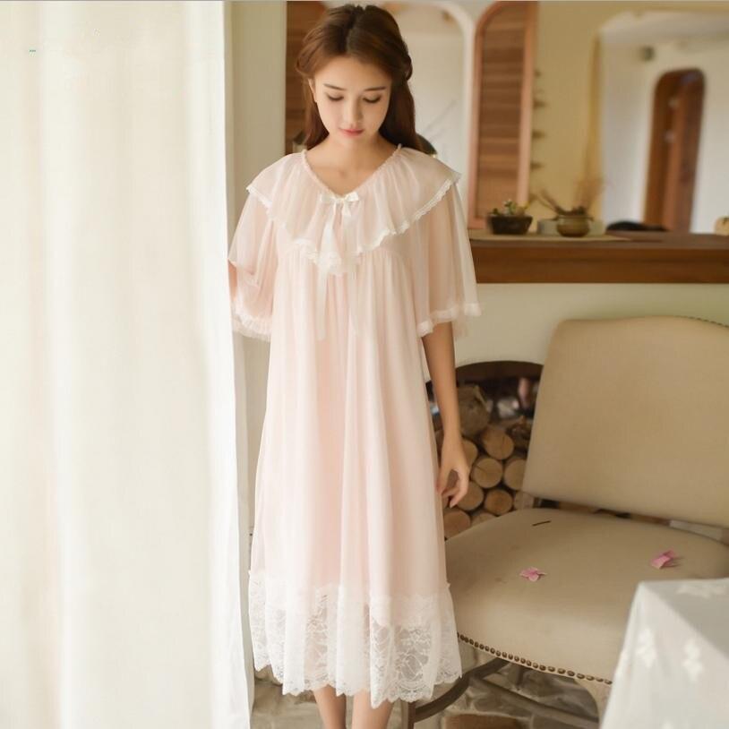 2018 Summer new palace lace Princess home service nightdress female sweet cute ruffled short-sleeved ladies sleepwear L683