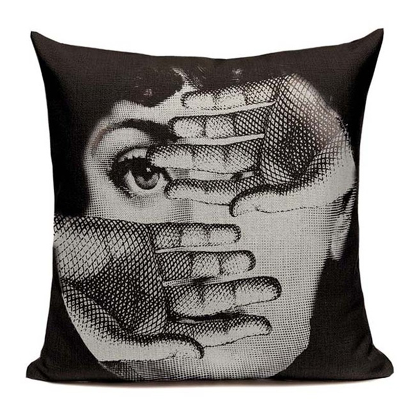 Vintage Fornasetti Art Beauty Face Cushion Cover Linen Custom Black and White Throw Pillow Case Home Sofa Decorative Pillowcase in Cushion Cover from Home Garden