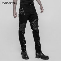 PUNK RAVE PU Leather Zipper Casual Kneepads Steampunk Rockability Motorcycle Men Pants Gothic Twill Washing Water Fabric Jeans