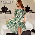 dabuwawa spring dress 2017 new off the shoulder fashion casual sexy slash neck floral midi dresses for women pink doll