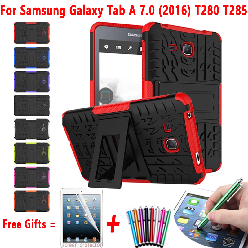 Tablet Case For Samsung Galaxy Tab A 7.0 T280 T285 case Hybrid Armor Kickstand Hard Case for Samsung Galaxy Tab A 7.0 2016 Cover tire style tough rugged dual layer hybrid hard kickstand duty armor case for samsung galaxy tab a 10 1 2016 t580 tablet cover