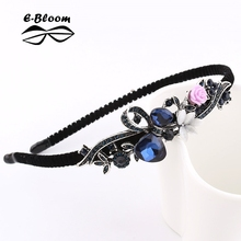 Korean Retro Flower Peacock Bow Rhinestone Headband Beautiful Festival Fanshion Hair Accessories Fascinator Christmas Girl Women