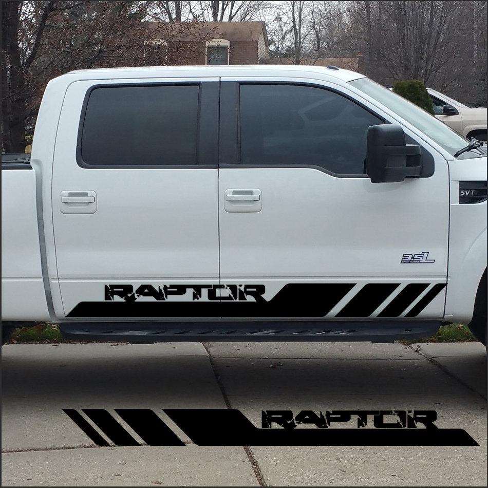 free shipping 2 PC raptor side stripe graphic Vinyl sticker for Ford FORD F150 raptor decals