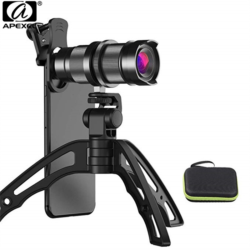APEXEL HD 4x 12x Phone Camera lens Telephoto Zoom Mobile Lens + Mini Tripod for iPhone X 8 7 6 Samsung iPad and All Smartphones