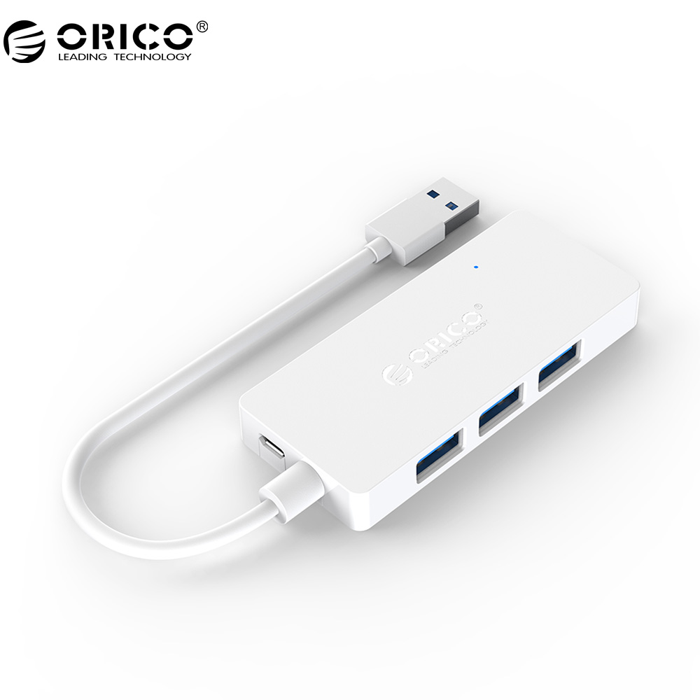 ORICO HS4U USB HUB 4 port USB3.0 HUB Rectangle Mini Hub with OTG Function for Windows Mac OS -White/Black 4 port usb3 0 hub orico a3h4 серебристый
