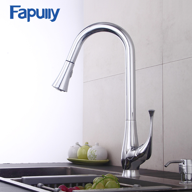 Fapully Brass Flexible Pull Out Kitchen Faucet Mixer Chrome Water Taps 360 Degree Rotation Kitchen Mixer Sink Faucets 545-33C frap new white black flexible kitchen sink faucet brass 360 degree rotation torneira cozinha water tap mixer kitchen goods f4042