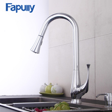Fapully Brass Flexible Pull Out Kitchen Faucet Mixer Chrome Water Taps 360 Degree Rotation Kitchen Mixer Sink Faucets 545-33C gappo kitchen faucet kitchen sink faucets water mixer kitchen color brass taps sink kitchen faucets waterfall faucet
