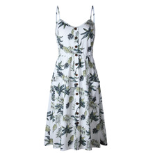 V Neck Backless Floral Summer Beach Dress