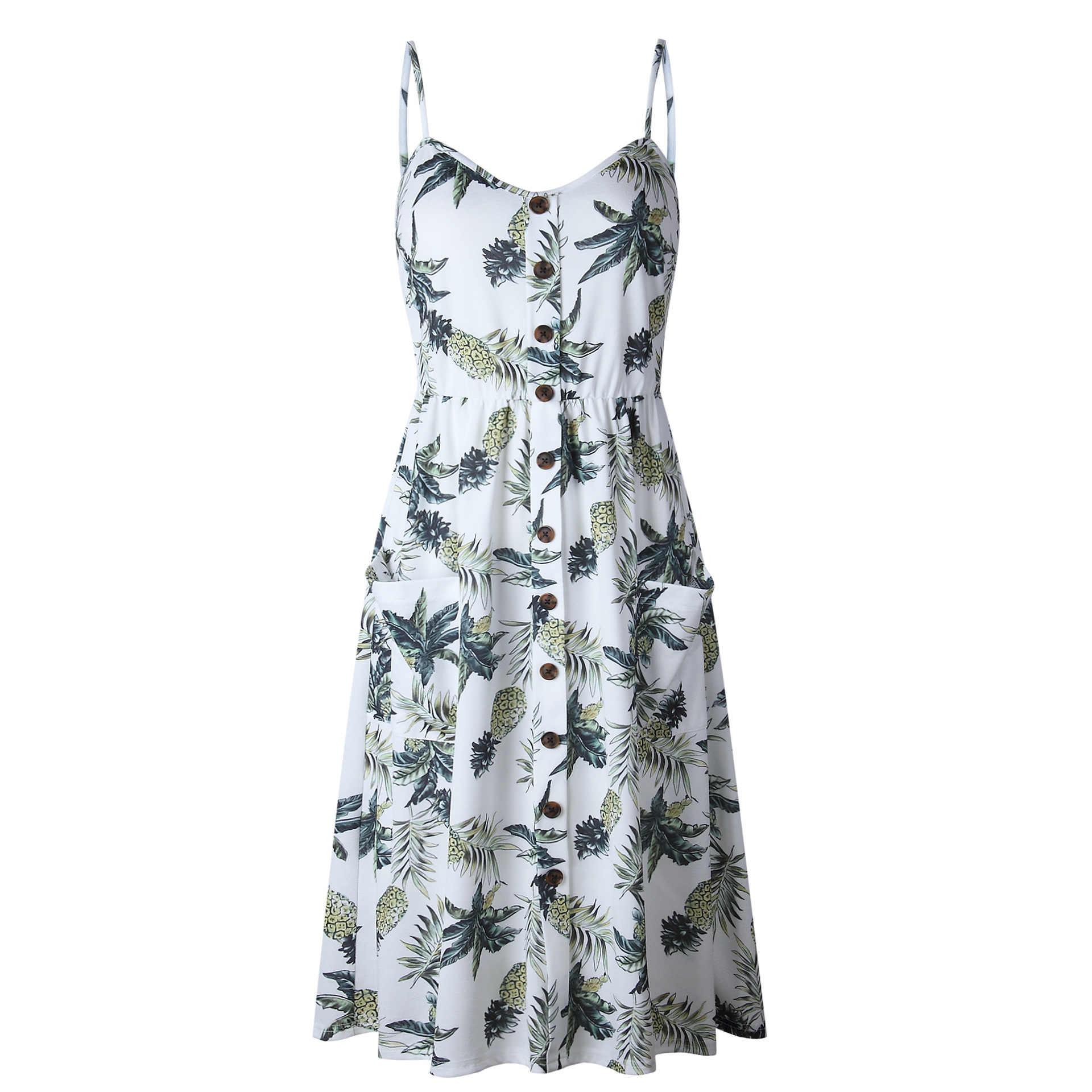 Сексуальное летнее пляжное платье с v-образным вырезом и открытой спиной 2019 белое в полоску на пуговицах Подсолнух маргаритки ананас Вечерние Платья Миди