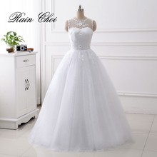 White Wedding Dress vestido de noiva Appliques Bridal Gowns Ball Gowns Ivory Wedding Gowns 2017