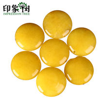 Yellow Jad e Flat Shape Spacer Bead AAAAA Grade 16mm Natural Coin Shape Gem Bead Spacer Necklace Fit For DIY Jewelry Making 1817(China)