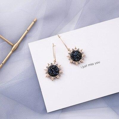 AOMU coréen bleu géométrique acrylique irrégulière cercle creux carré balancent des boucles d'oreilles pour les femmes en métal bosse fête plage bijoux 11