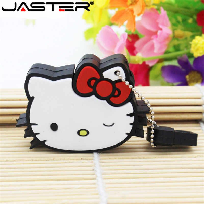 JASTER Olá Kitty Usb Flash Drive Pendrive 64GB 32gb Pen drive gb gb 16 8 4gb Dos Desenhos Animados U Disco Cartão de Memória Flash de Memória venda quente vara