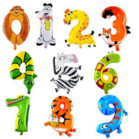 Animal Number Foil Inflatable Balloons Children Gifts Air Balloons Happy Birthday Party Decoration Christmas new Year