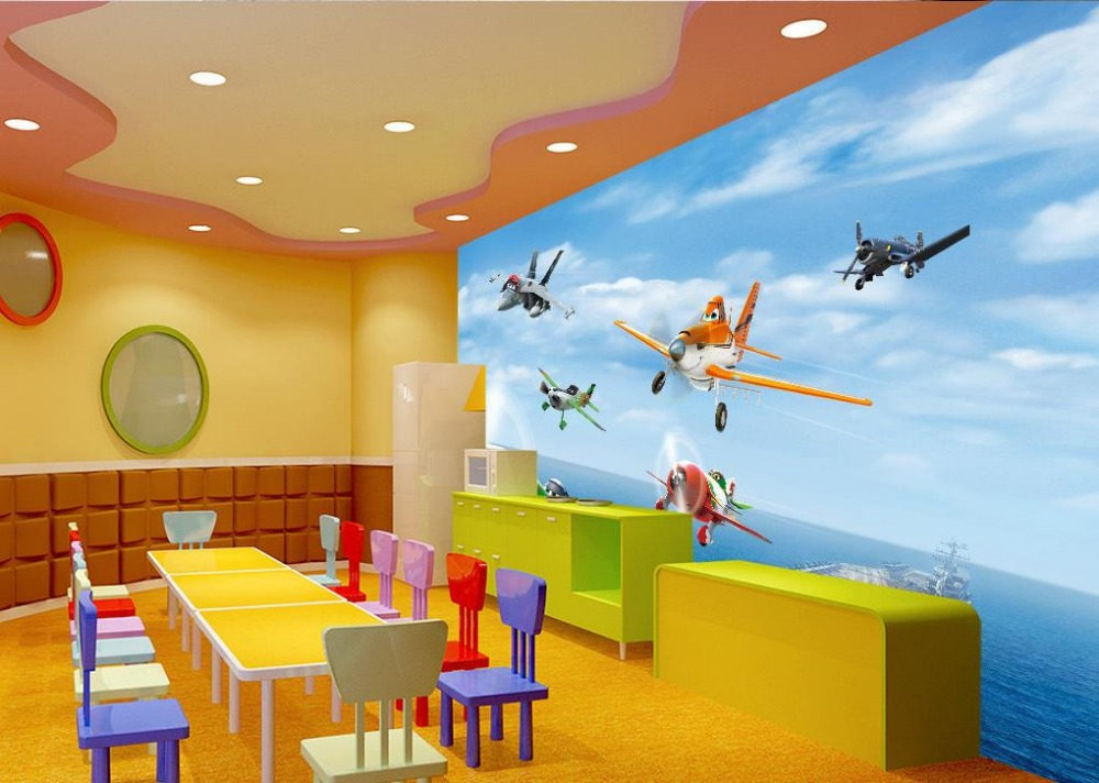 3d Murals Wallpaper For Living Room Aircraft Cartoon Animation Cl Ic Wallpaper For Walls Home Decoration