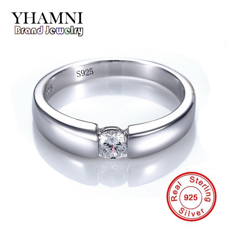 Ter Certificado de Prata! yhamni sólido 925 sterling silver amante anéis de casamento anel de noivado jóias com cz sona diamant ad10