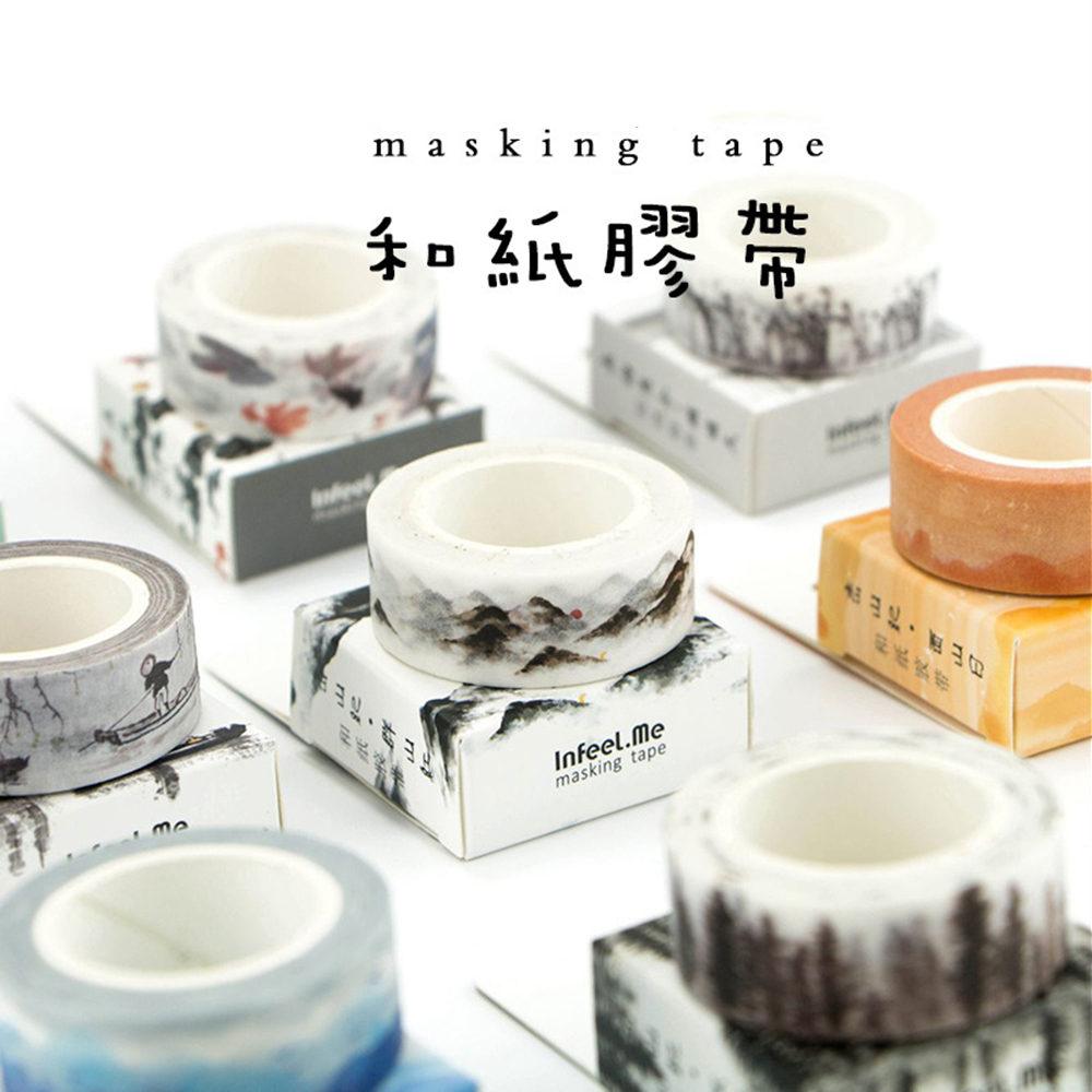 Cute Ancient Fountain Ink Painting Decorative Adhesive Washi Tape Diy Scrapbooking Masking Tape School Office Supply