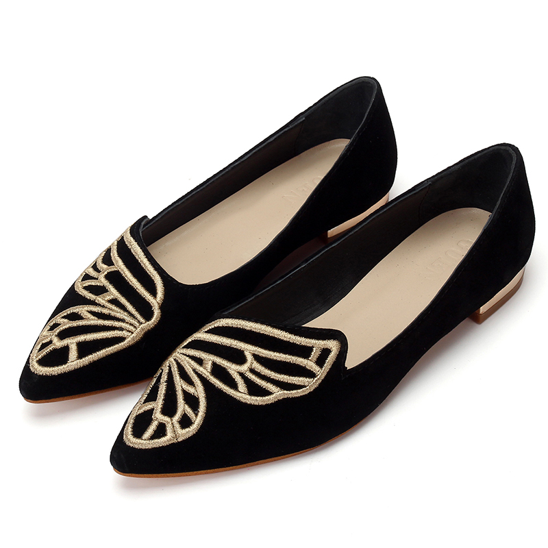 Shoes Woman Casual Flat with Loafers  Pointed Toe Spring 2018 Fashion Butterfly Embroidery Shallow Comfortable Breathable SlipShoes Woman Casual Flat with Loafers  Pointed Toe Spring 2018 Fashion Butterfly Embroidery Shallow Comfortable Breathable Slip
