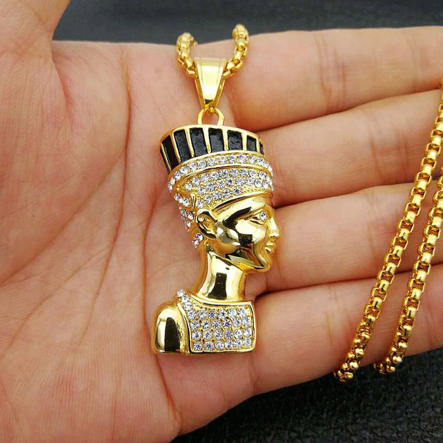 US $8 94 20% OFF|Stainless Steel Ancient Egyptian Queen Nefertiti Pendant  Necklace for Men Hip Hop Rapper Jewelry with 24