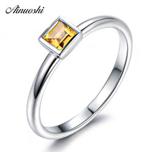 цены на AINUOSHI Natural Citrine Solitaire Ring 0.3t Emerald Cut Gemstone 925 Sterling Silver Ring Engagement Party Jewelry Women Ring  в интернет-магазинах