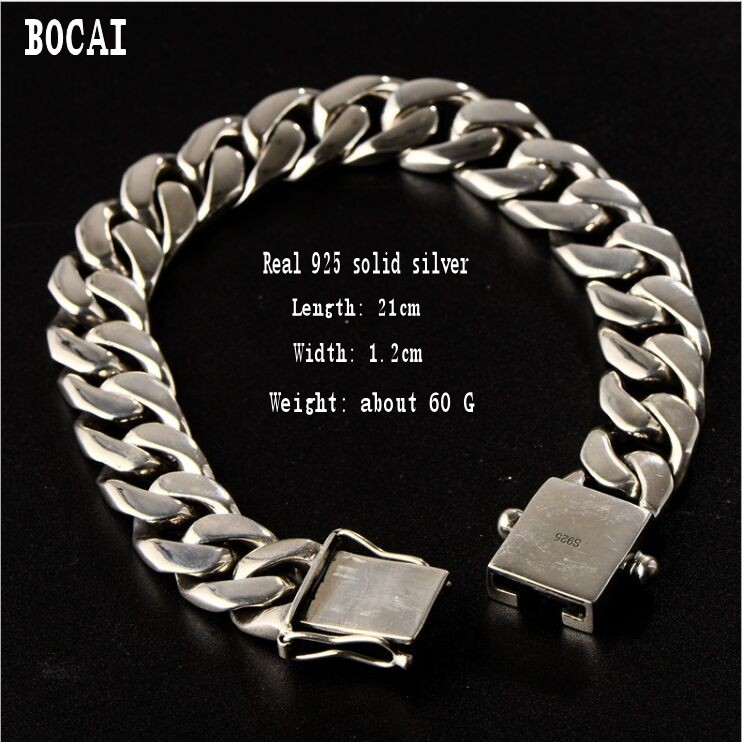 Real sS925 solid silver personality trend whip chain mens bracelet fashion hip hop Thai silver braceletReal sS925 solid silver personality trend whip chain mens bracelet fashion hip hop Thai silver bracelet