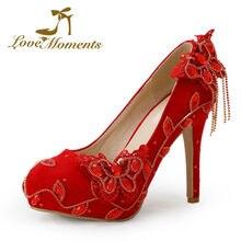 Liebe Momente Kristall schuhe frau roten high heels Brautschuhe pumps hochzeitskleid partei tanzschuhe frauen Große größe 40-43