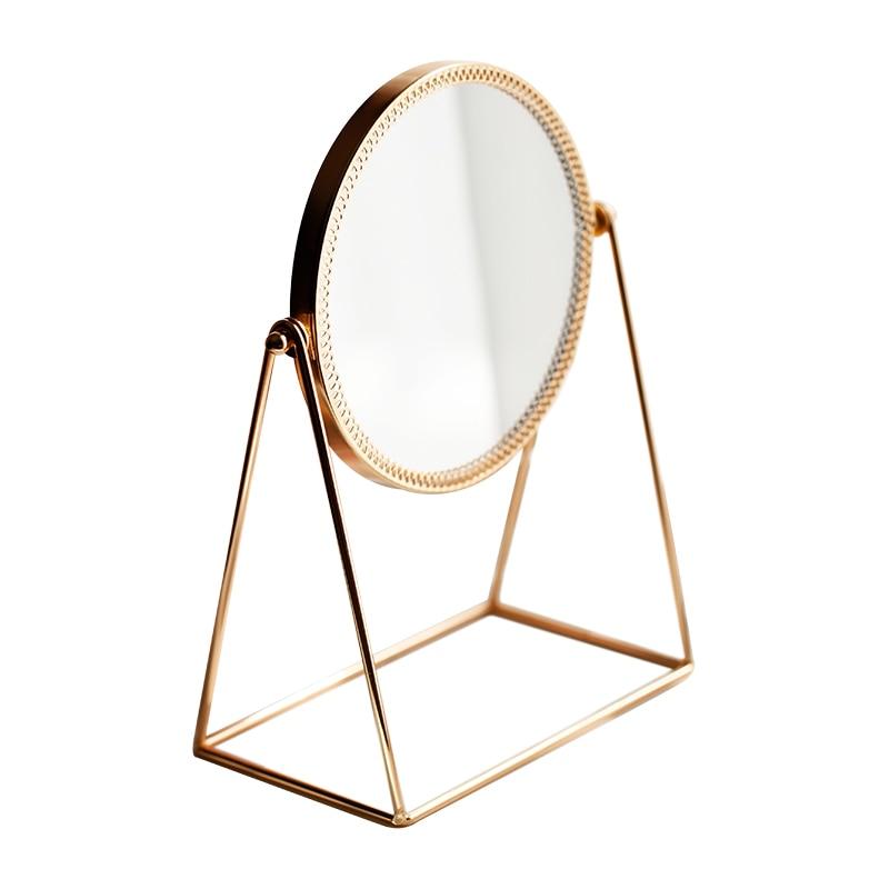 Nordic Metal Decorative Mirror Lady Desktop Makeup Crafts Copper Three-dimensional Princess Home Decor Accessories