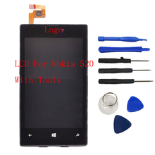 Hot For Nokia Lumia 520 LCD Display Touch Screen Digitizer Assembly + Bezel Frame Replacement LCD +Tools With Logo Free Shipping