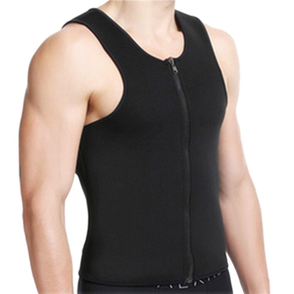 Casual Men Sweat Vest Neoprene Slimming Zip Waist Belly Fat Burning Weight Loss Body Shaper Corset H9