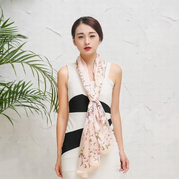 2017 new oriental cherry 100% silk scarf spot wholesale pure silk scarf shawl women's scarves
