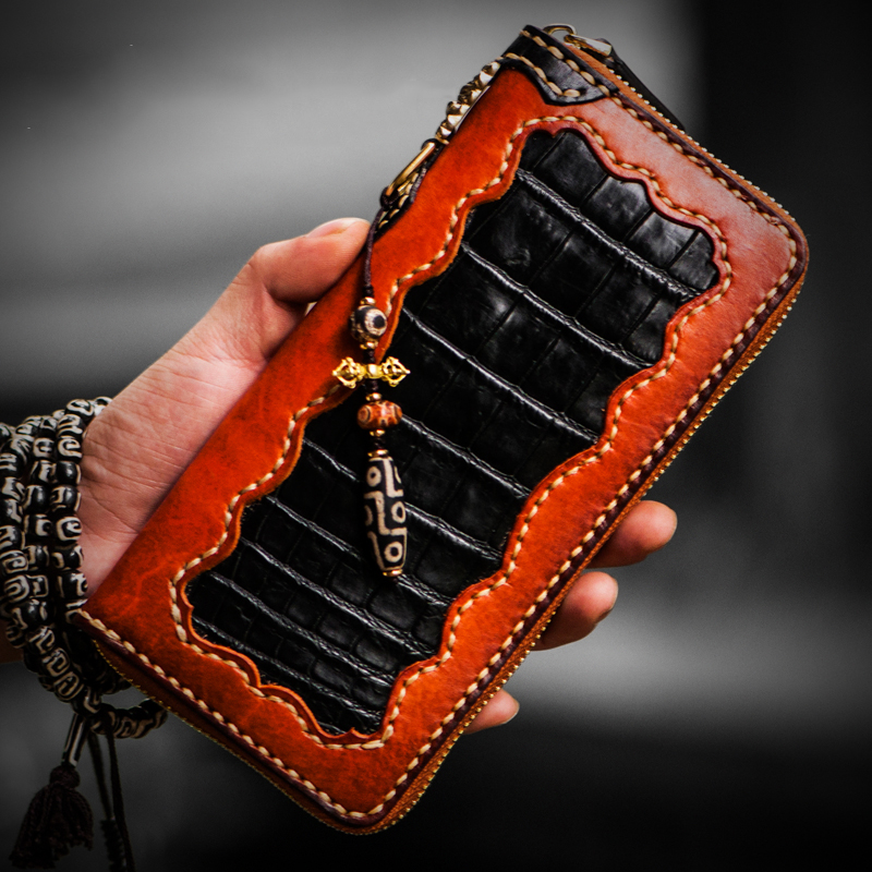 Men wallets handmade leather crocodile pattern with nine eyed dZi pendant women wallets genuine leather clutch purse