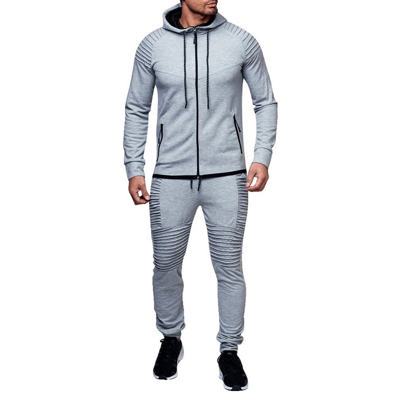 HTB107C6asTxK1Rjy0Fgq6yovpXak HEFLASHOR Men Drawstring Sportwear Set Fashion Solid Sweatshirt&Pants Tracksuit Casual Zipper Hoodies Outwear Clothes 2019