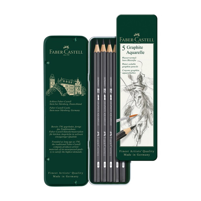 FABER CASTEL Water soluble sketch Pencil 5 green iron box 117805 faber pareo
