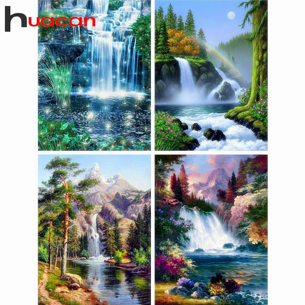 Huacan Diamond Mosaic Cross Stitch Scenery Full Square Drill Wall Decor Rhinestone Diamond Embroidery Waterfall 5D Handmade