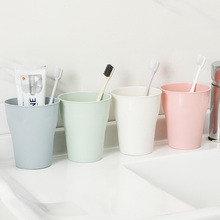 Solid Color Plain Eco-friendly Thick Circular Water Cups Toothbrush Holder PP Cup Rinsing Wash Tooth Mug Bathroom
