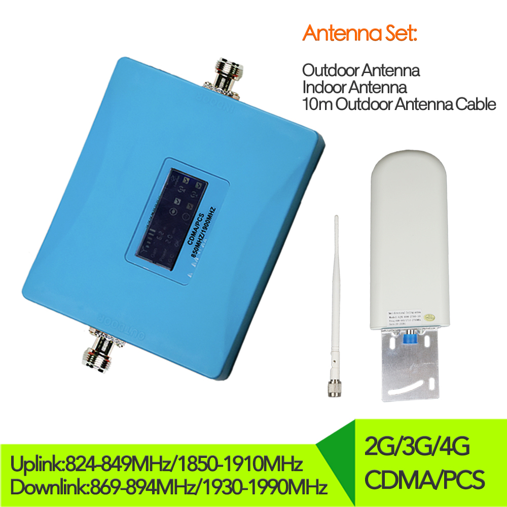 Kit d'antennes internes de booster de signal cellulaire 850 1900 MHz amplificateur de Signal 2G CDMA 3G 4G PCS ensemble d'amplificateur de répéteur cdma
